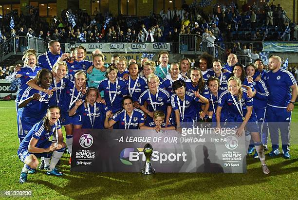 Chelsea Ladies FC celebrate with the trophy during the Women's Super League match between Chelsea Ladies FC and Sunderland AFC Ladies at Wheatsheaf...