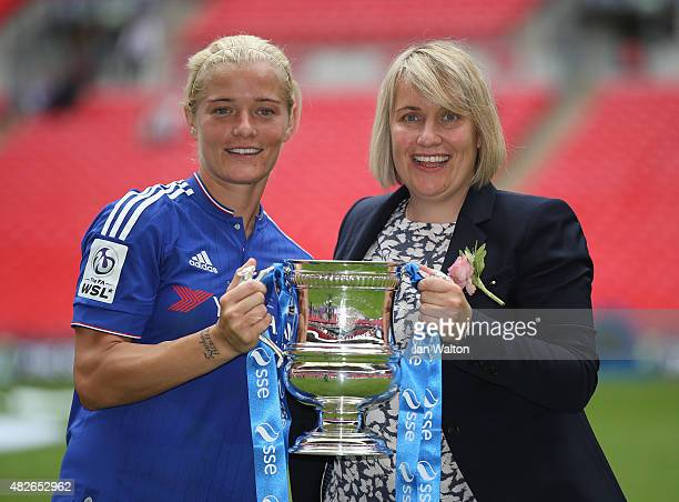 Chelsea Ladies FC manager Emma Hayes and Katie Chapman celebrates with the trophy after winning the Women's FA Cup Final match between Chelsea Ladies...