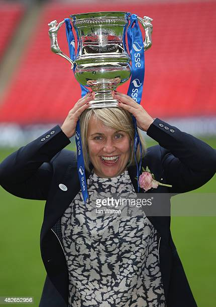 Chelsea Ladies FC manager Emma Hayes celebrates with the trophy after winning the Women's FA Cup Final match between Chelsea Ladies FC v Notts County...