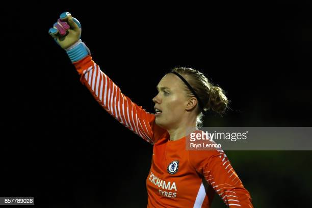 Chelsea Ladies goalkeeper Hedvig Lindahl looks on during the UEFA Womens Champions League Round of 32 First Leg match between Chelsea Ladies and...