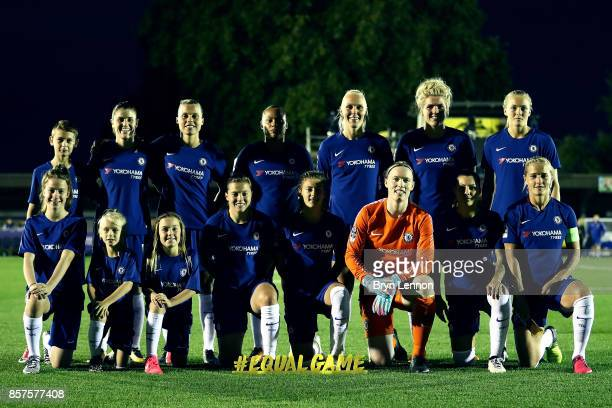 Chelsea Ladies pose for a team group prior to the UEFA Womens Champions League Round of 32 First Leg match between Chelsea Ladies and Bayern Munich...