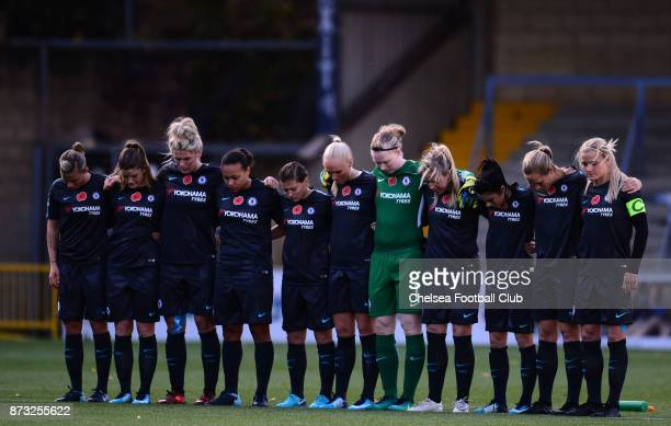 Chelsea Ladies stand for a minute silence for remembrance day before a WSL match between Reading Women and Chelsea Ladies at Adams Park on October 12...