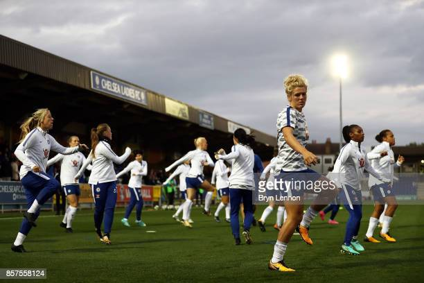 Chelsea Ladies warm up ahead of the UEFA Womens Champions League Round of 32 First Leg match between Chelsea Ladies and Bayern Munich at The Cherry...