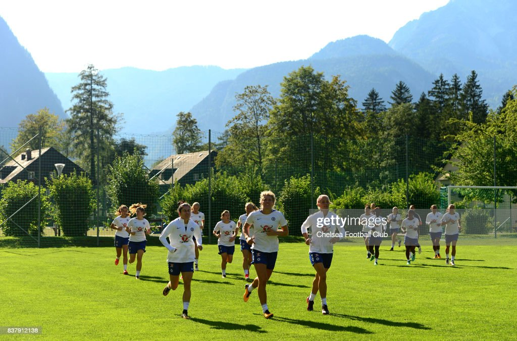 Chelsea ladies warming up infront of landscape during a training session on August 23, 2017 in Schladming, Austria.
