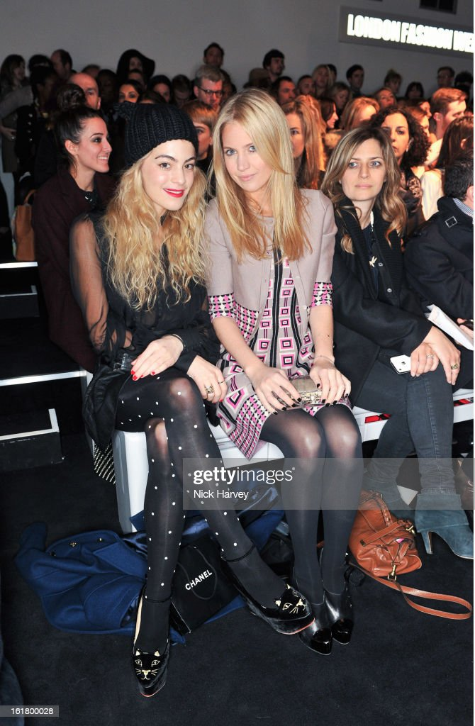 Chelsea Layland (L) and Marissa Montgomery attend the Issa London show during London Fashion Week Fall/Winter 2013/14 at Somerset House on February 16, 2013 in London, England.