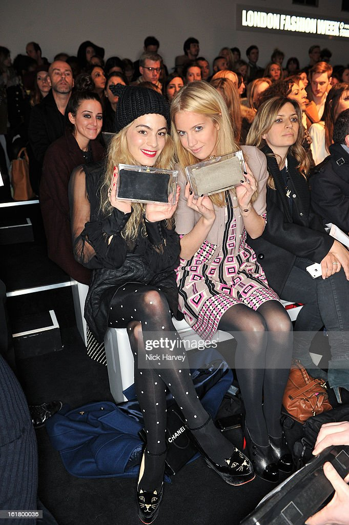 Chelsea Layland and Marissa Montgomery attends the Issa London show during London Fashion Week Fall/Winter 2013/14 at Somerset House on February 16, 2013 in London, England.