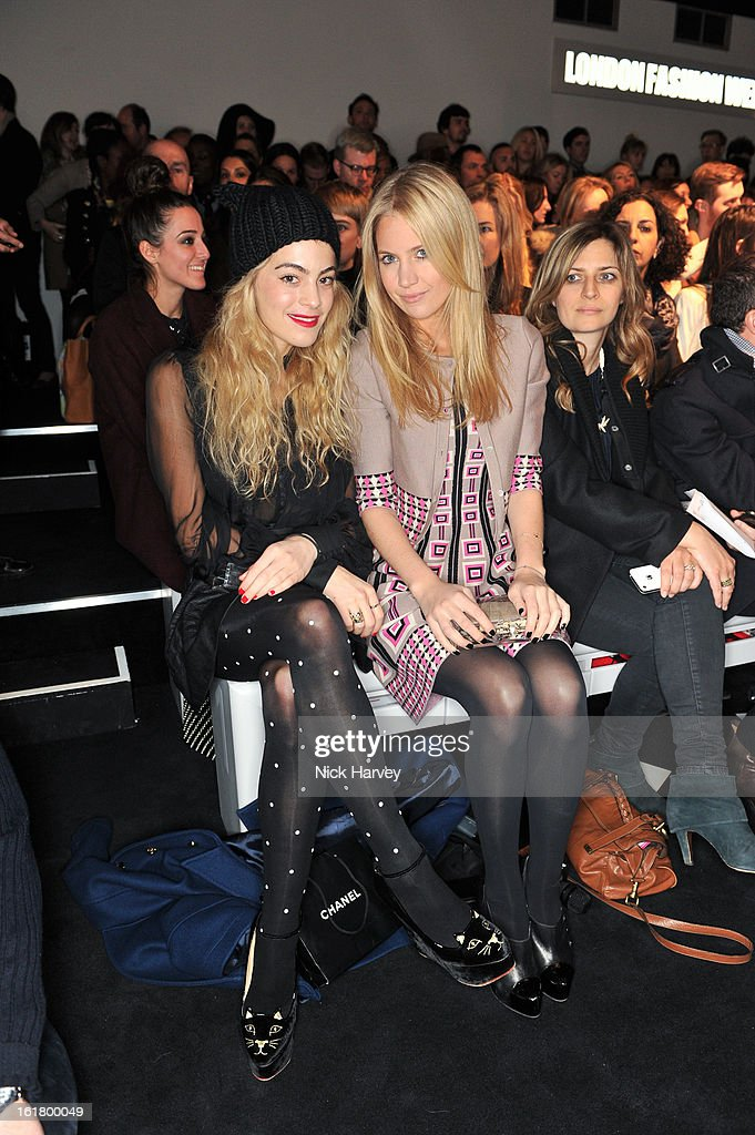 Chelsea Layland (L) and Marissa Montgomery attends the Issa London show during London Fashion Week Fall/Winter 2013/14 at Somerset House on February 16, 2013 in London, England.