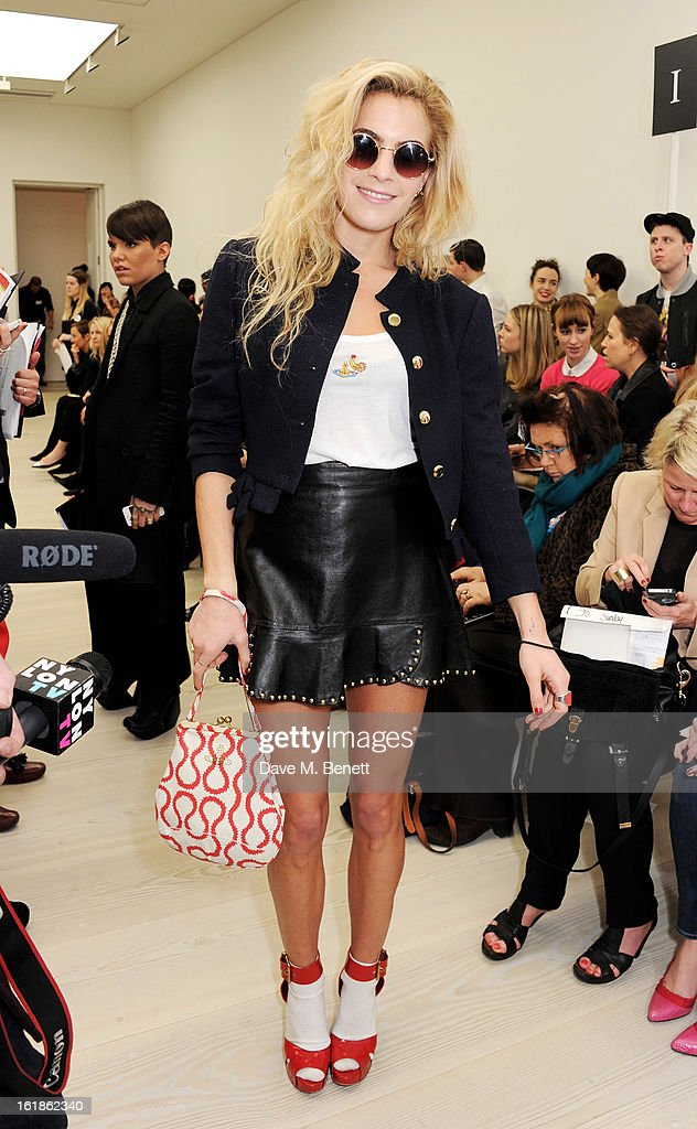 Chelsea Leyland attends the Vivienne Westwood Red Label show during London Fashion Week Fall/Winter 2013/14 at the Saatchi Gallery on February 17, 2013 in London, England.