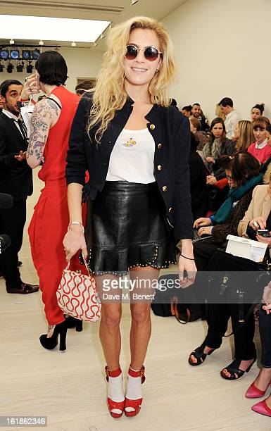 Chelsea Leyland attends the Vivienne Westwood Red Label show during London Fashion Week Fall/Winter 2013/14 at the Saatchi Gallery on February 17...