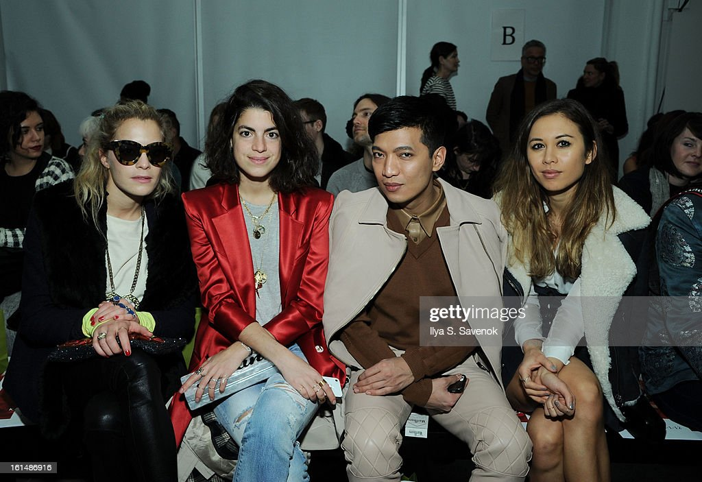 Chelsea Leyland, Liandra Medine, Bryan Boy and <a gi-track='captionPersonalityLinkClicked' href=/galleries/search?phrase=Rumi+Neely&family=editorial&specificpeople=6586557 ng-click='$event.stopPropagation()'>Rumi Neely</a> attend the Karen Walker fall 2013 fashion show during Mercedes-Benz FAshion Week at Pier 59 on February 11, 2013 in New York City.