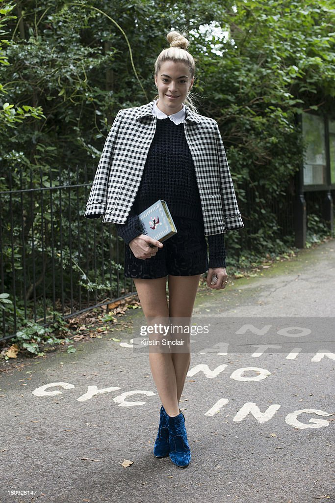 DJ Chelsea Leyland wears Orla Keily shorts, Zara jacket and Cascada Boots on day 5 of London Fashion Week Spring/Summer 2013, at Somerset House on September 17, 2013 in London, England.