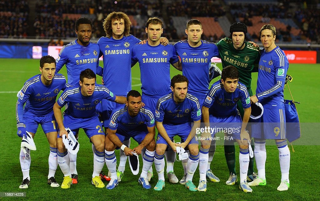 Chelsea line up foe a team photo ahead of the FIFA Club World Cup Semi Final match between CF Monterrey and Chelsea at International Stadium Yokohama on December 13, 2012 in Yokohama, Japan.