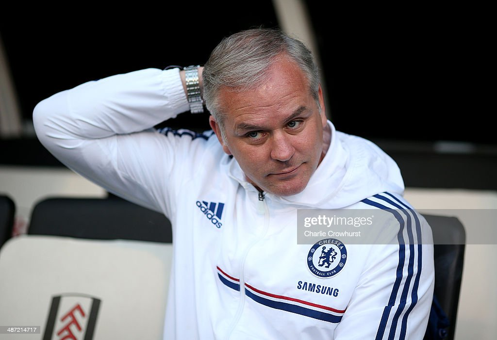 Chelsea manager Adi Viveash during the FA Youth Cup Final: First Leg match between Fulham and Chelsea at Craven Cottage on April 28, 2014 in London, England.
