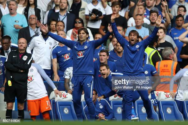 Chelsea manager Antonio Conte and assistant Paolo Vanoli on the touchline during the Premier League match at Stamford Bridge London