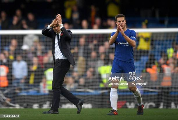 Chelsea manager Antonio Conte and Cesar Azpilicueta after the final whistle during the Premier League match at Stamford Bridge London