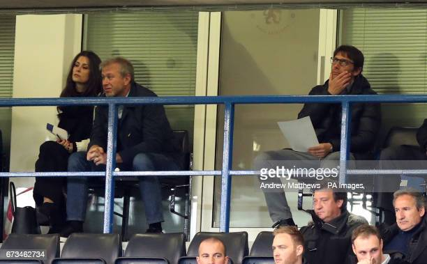 Chelsea manager Antonio Conte and owner Roman Abramovich in the stands during the FA Youth Cup Final First Leg match at Stamford Bridge London