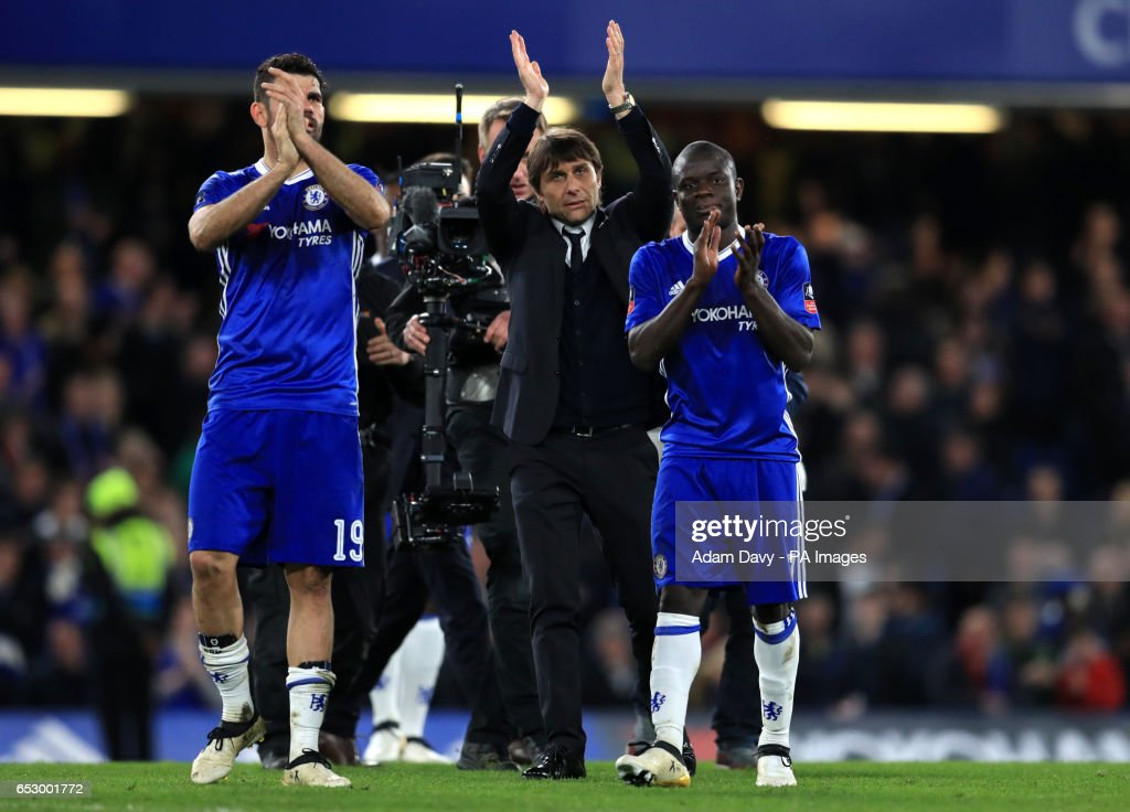 Chelsea manager Antonio Conte and players Ngolo Kante (right) and Diego Costa celebrate at full time during the Emirates FA Cup, Quarter Final match at Stamford Bridge, London.