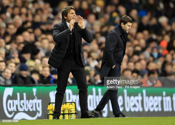 Chelsea manager Antonio Conte and Tottenham Hotspur manager Mauricio Pochettino on the touchline during the Premier League match at White Hart Lane...