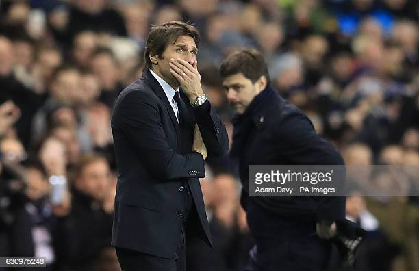 Chelsea manager Antonio Conte and Tottenham Hotspur manager Mauricio Pochettino during the Premier League match at White Hart Lane London