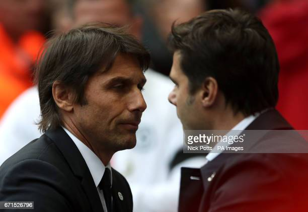 Chelsea manager Antonio Conte and Tottenham Hotspur manager Mauricio Pochettino during the Emirates FA Cup Semi Final match at Wembley Stadium London