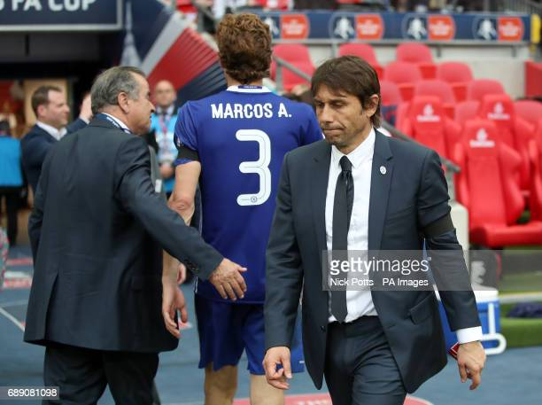 Chelsea manager Antonio Conte appears dejected during the Emirates FA Cup Final at Wembley Stadium London