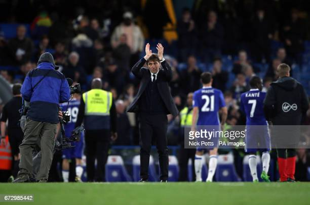 Chelsea manager Antonio Conte applauds the fans after the Premier League match at Stamford Bridge London