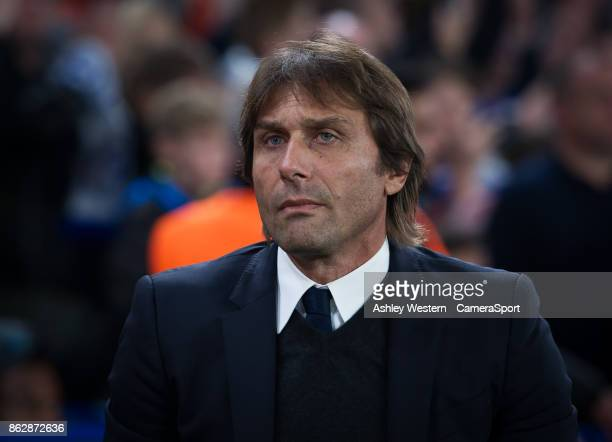 Chelsea manager Antonio Conte before the UEFA Champions League group C match between Chelsea FC and AS Roma at Stamford Bridge on October 18 2017 in...