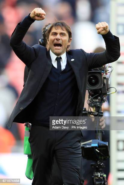 Chelsea manager Antonio Conte celebrates after the final whistle during the Emirates FA Cup Semi Final match at Wembley Stadium London