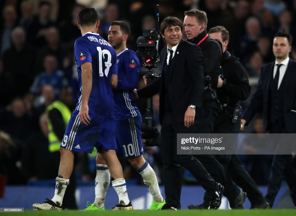 Chelsea manager Antonio Conte celebrates at full time during the Emirates FA Cup, Quarter Final match at Stamford Bridge, London.
