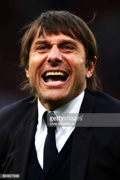 Chelsea manager Antonio Conte celebrates at fulltime following the Premier League match between Stoke City and Chelsea at Bet365 Stadium on March 18...