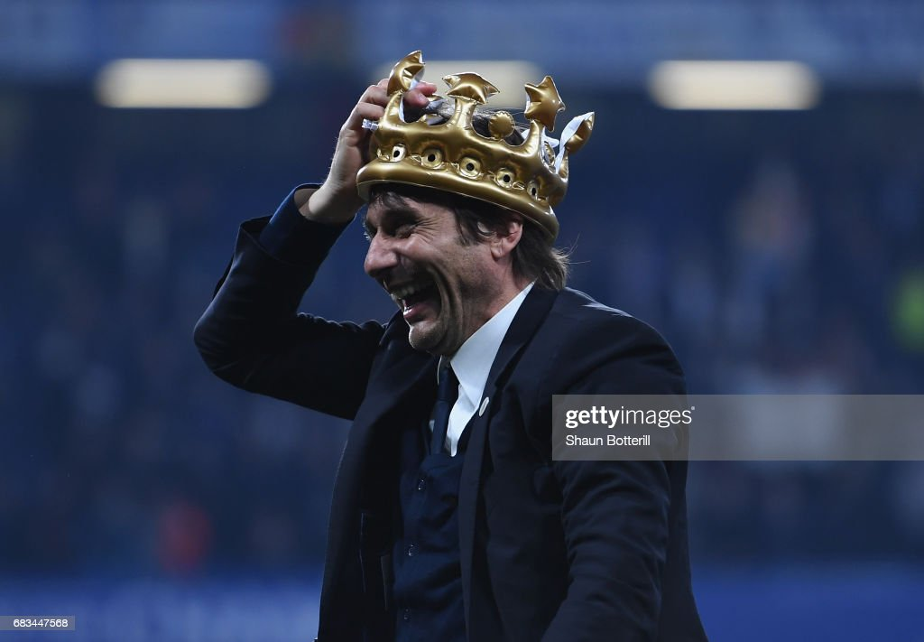 Chelsea manager Antonio Conte celebrates at the end of the Premier League match between Chelsea and Watford at Stamford Bridge on May 15, 2017 in London, England.