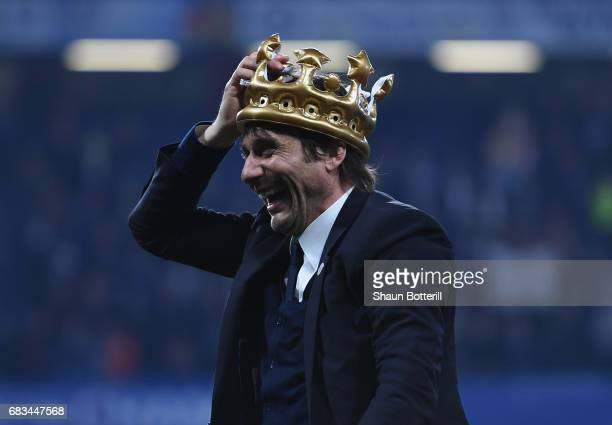 Chelsea manager Antonio Conte celebrates at the end of the Premier League match between Chelsea and Watford at Stamford Bridge on May 15 2017 in...