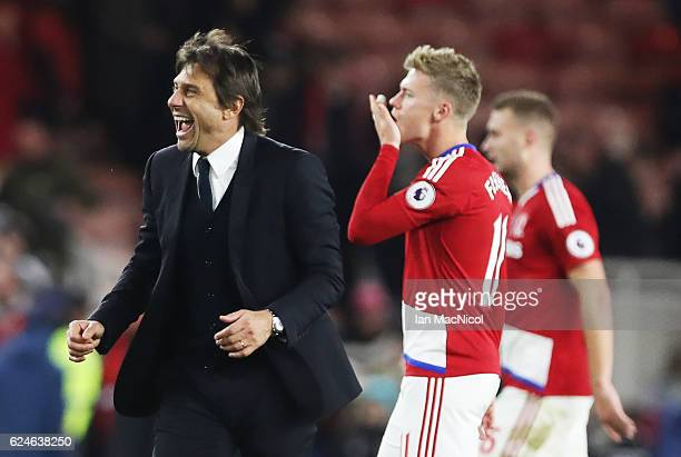 Chelsea manager Antonio Conte celebrates during the Premier League match between Middlesbrough and Chelsea at Riverside Stadium on November 20 2016...
