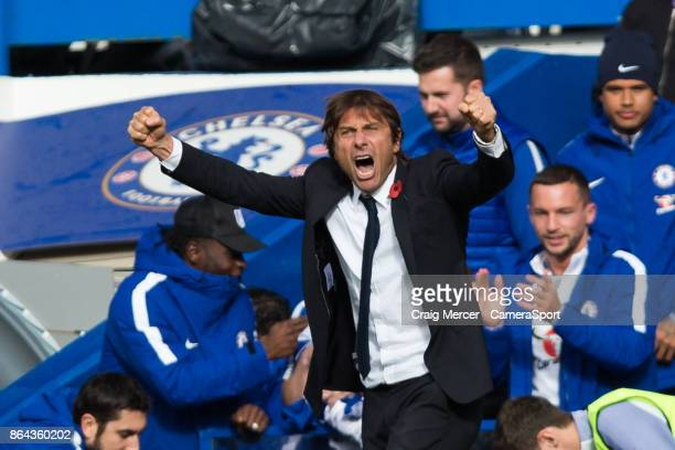Chelsea manager Antonio Conte celebrates his side's third goal during the Premier League match between Chelsea and Watford at Stamford Bridge on...