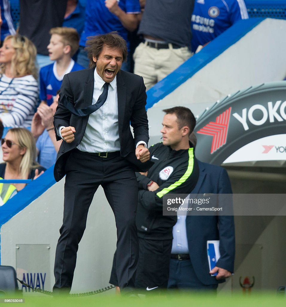 Chelsea manager Antonio Conte celebrates the opening goal during the Premier League match between Chelsea and Burnley at Stamford Bridge on August 27...