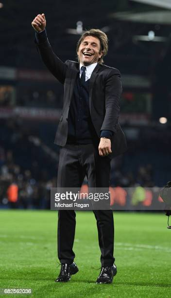 Chelsea manager Antonio Conte celebrates winning the league after the Premier League match between West Bromwich Albion and Chelsea at The Hawthorns...