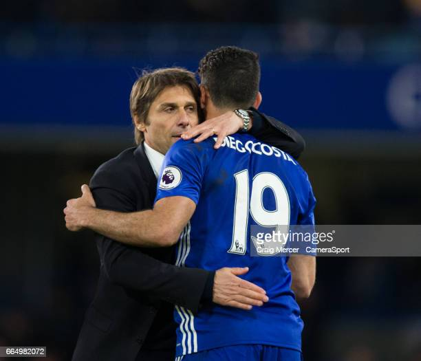 Chelsea manager Antonio Conte celebrates with Diego Costa after the Premier League match between Chelsea and Manchester City at Stamford Bridge on...
