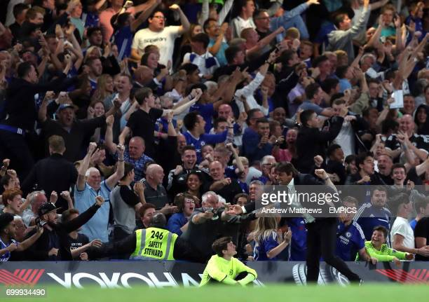 Chelsea manager Antonio Conte celebrates with the fans after Eden Hazard scores their side's second goal of the game