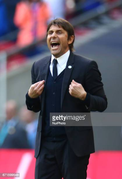 Chelsea manager Antonio Conte during The Emirates FA Cup SemiFinal match between Chelsea and Tottenham Hotspur at Wembley Stadium London 22 April 2017