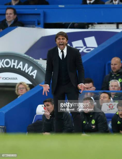 Chelsea manager Antonio Conte during the Premier League match between Chelsea and Southampton at Stamford Bridge on April 25 2017 in London England