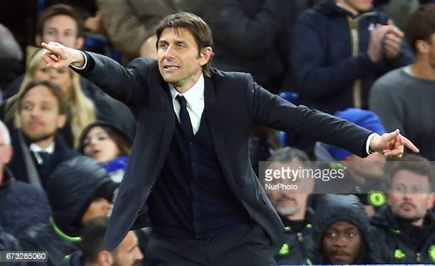 Chelsea manager Antonio Conte during the Premier League match between Chelsea and Southampton at Stamford Bridge London England on 25 April 2017