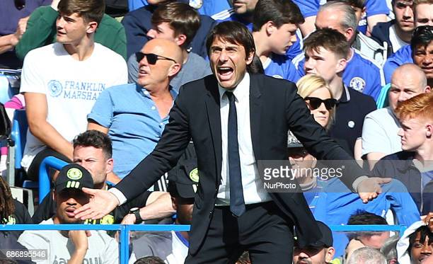 Chelsea manager Antonio Conte during the Premier League match between Chelsea and Sunderland at Stamford Bridge London England on 21 May 2017