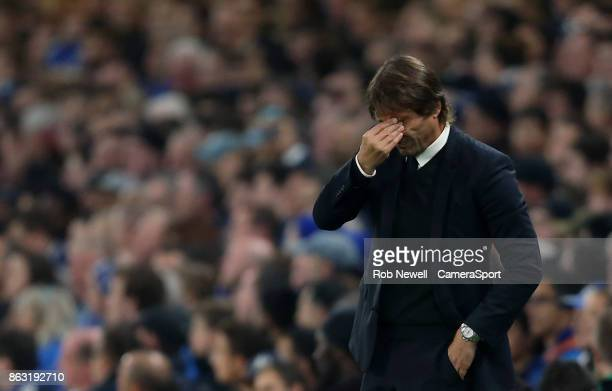 Chelsea manager Antonio Conte during the UEFA Champions League group C match between Chelsea FC and AS Roma at Stamford Bridge on October 18 2017 in...