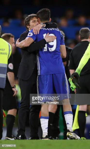 Chelsea manager Antonio Conte embraces Diego Costa after the Premier League match at Stamford Bridge London