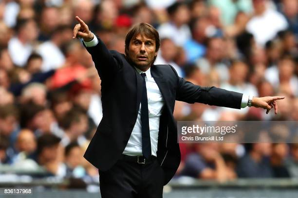 Chelsea manager Antonio Conte gestures from the touchline during the Premier League match between Tottenham Hotspur and Chelsea at Wembley Stadium on...