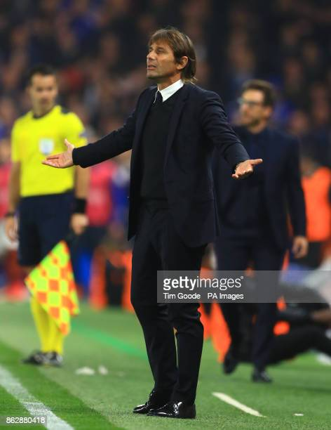Chelsea manager Antonio Conte gestures on the touchline during the UEFA Champions League Group C match at Stamford Bridge London
