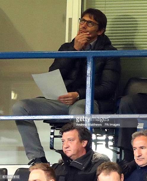 Chelsea manager Antonio Conte in the stands during the FA Youth Cup Final First Leg match at Stamford Bridge London