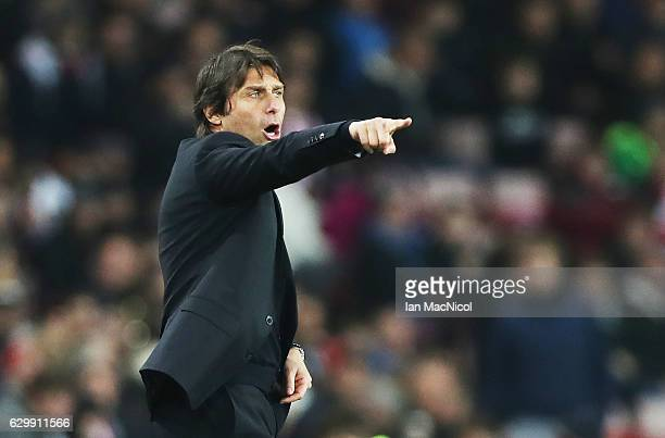 Chelsea manager Antonio Conte is seen during the Premier League match between Sunderland and Chelsea at Stadium of Light on December 14 2016 in...