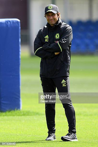 Chelsea Manager Antonio Conte looks on during a training session at Chelsea Training Ground on July 14 2016 in Cobham England