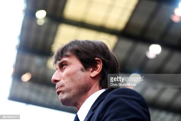 Chelsea manager Antonio Conte looks on during the Premier League match between Stoke City and Chelsea at Bet365 Stadium on March 18 2017 in Stoke on...